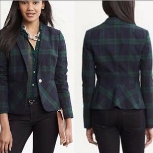 Banana Republic Plaid Peplum Blazer